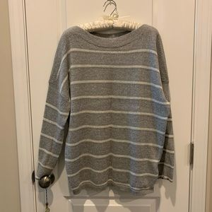Allsaints Grey and White Stripes Women's Sweater